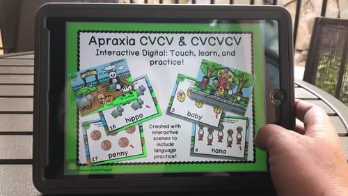 Apraxia CVCV & CVCVCV word scenes digital NO print NO Prep
