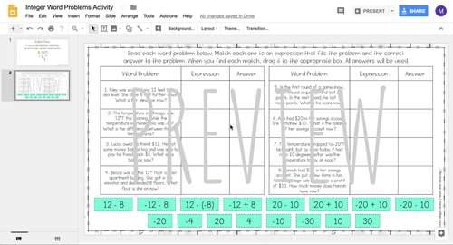 Integer Word Problems DIGITAL Drag & Drop Activity for Google Drive™