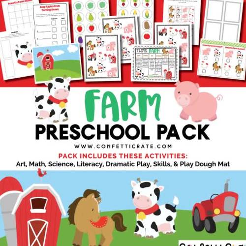 Farm Activities Preschool (color and black & white version)