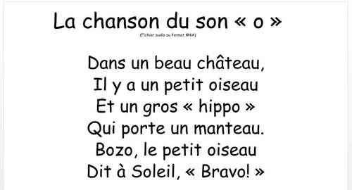 """La chanson du son """"o"""" - FRENCH - Song for the sound """"o"""""""