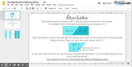 Two-Step Equations (With Integers) DIGITAL Matching Activity for Google Drive™