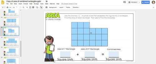 Area of Combined Rectangles Paperless Practice