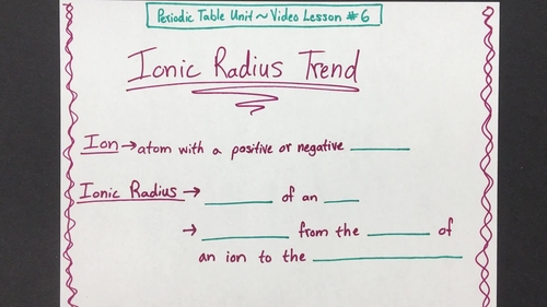 Ionic Radius Trend Video Lesson By Chemistry With Confidence Tpt