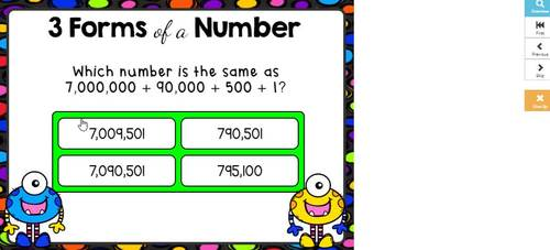 Place Value-3 Forms of a Number Digital Boom Cards