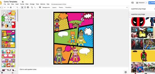 DIGITAL COMIC TEMPLATES - Reading and Writing With Comics