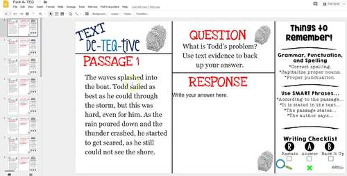 Daily Text-Evidence Questions for Use with Google Classroom (Pack A): Grades 3/4
