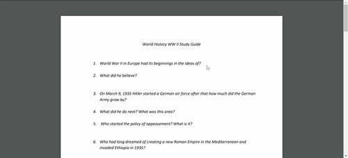 15 World History PP and Study Guides