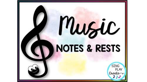 Music Essential Notes and Rests Presentation, Posters, Flashcards