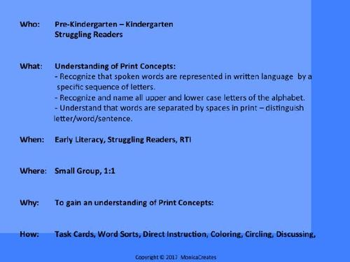 PreK, Kinder, 1st Grade Early Literacy - Concepts of  Print: ACTIVITIES