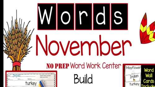 Making Words NOVEMBER writing center