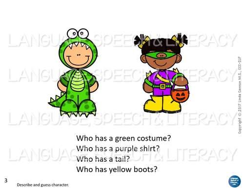 No Print - Halloween - Pronouns, Concepts, Descriptions, Speech Therapy