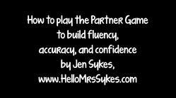 Fluency, Accuracy, And Confidence With The Partner Game for Literacy Instruction