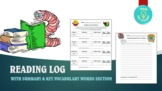 Reading Log with Summary & Key Vocabulary Words Section
