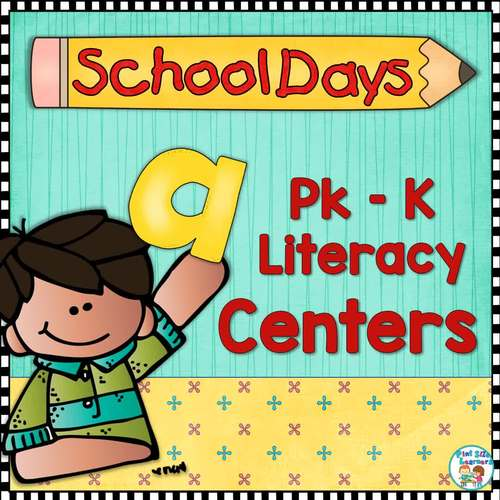 Back To School Literacy Centers and Worksheets PK and K