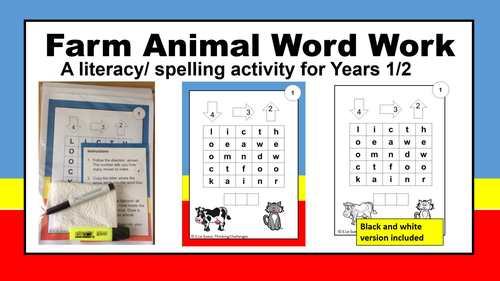 Farm Animal Word Work - A  literacy center activity