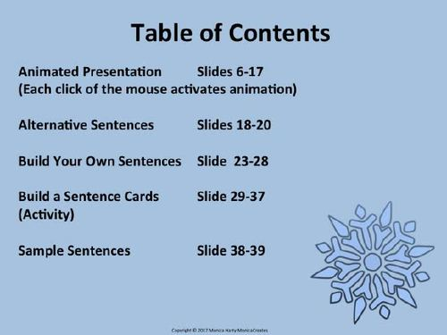 Stretch a Sentence: Lesson Plan, Activity, Samples WINTER VERSION