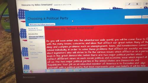 Political Party Webquest (Task, Process, Resouces, Rubric, and Model)