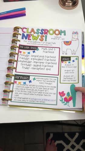 Classroom Newsletter- EDITABLE- Llama and Cactus Theme