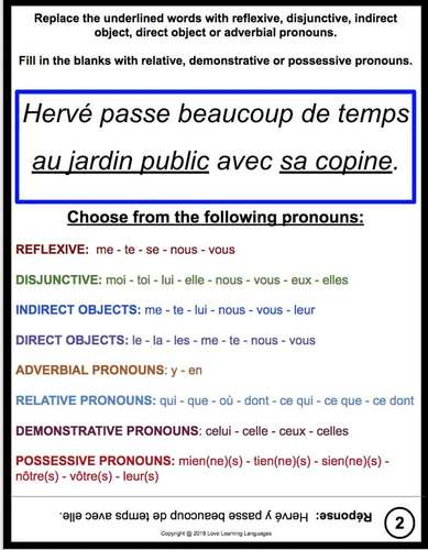 Advanced French Grammar: 50 Pronoun Challenge Cards