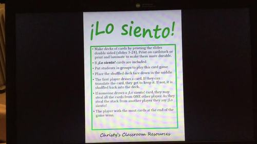 Extr@ en español Episode 1 ¡Lo siento! Card Game (Spanish Extra)