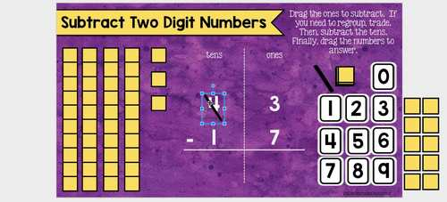 2 Digit Subtraction with Regrouping Using Place Value for the Google Classroom