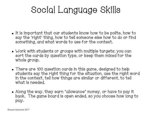 Earning Social Language Skills a Game for Speech Language