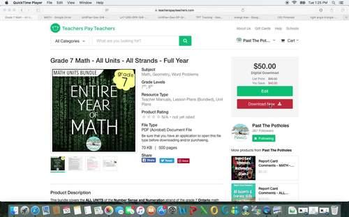 Operations Math Unit (fractions, decimals, integers) - Number Sense - Grade 7