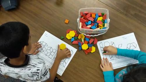 Third Grade Literacy Centers with Pattern Blocks {41 Words!}