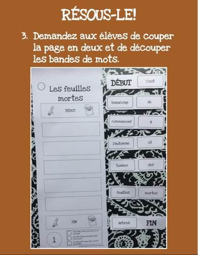 French beginning reader cut and paste - L'automne - Pour les lecteurs débutants