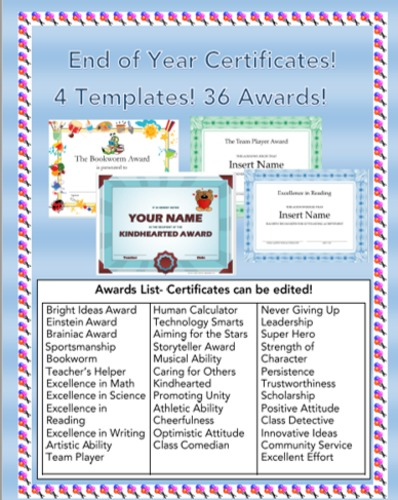 Classroom Award Ideas Elementary ~ Video preview end of year award certificates