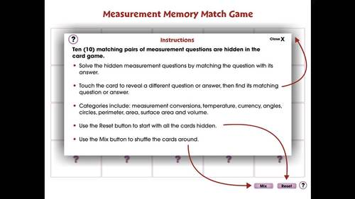 Measurement: Memory Match Game - NOTEBOOK Gr. 6-8