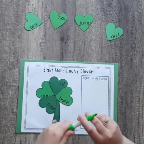 Sight Word Lucky Clover Literacy Center for Kindergarten for St-Patrick's Day