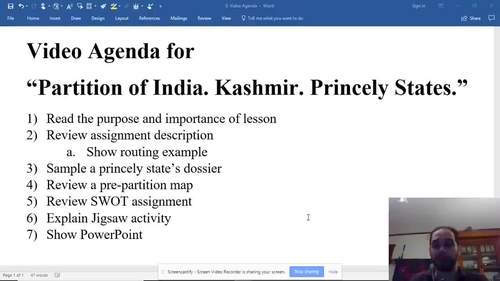 Partition of India, Kashmir, and the Princely States Simulation