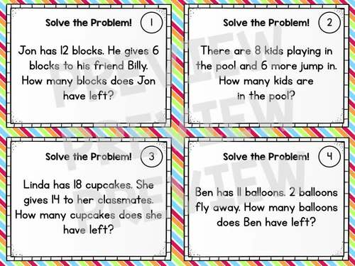 Word Problem Solving Task Cards - Grade 1 Math - Addition and Subtraction to 20