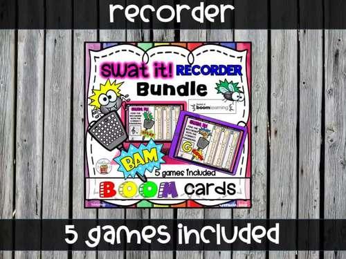 Swat the Bug Boom Cards - Recorder Bundle (Digital Task Cards)