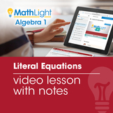 Literal Equations Video Lesson with Guided Notes