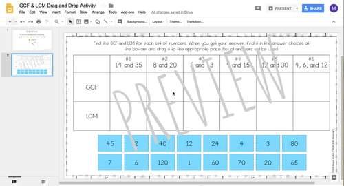 GCF & LCM DIGITAL Drag and Drop Activity for Google Drive™