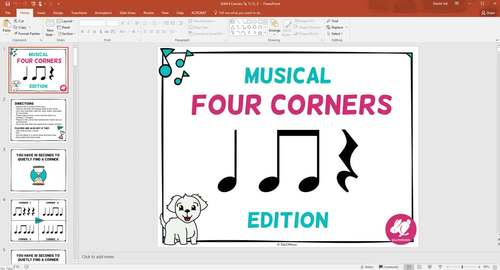 Musical Four Corners, Ta & Ti-Ti, Quarter note and Eighth Notes Rhythms