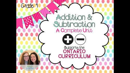Grade 4 Math Addition and Subtraction - Complete Unit