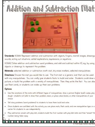 Guided Math Kindergarten Write and Wipe Math Mats