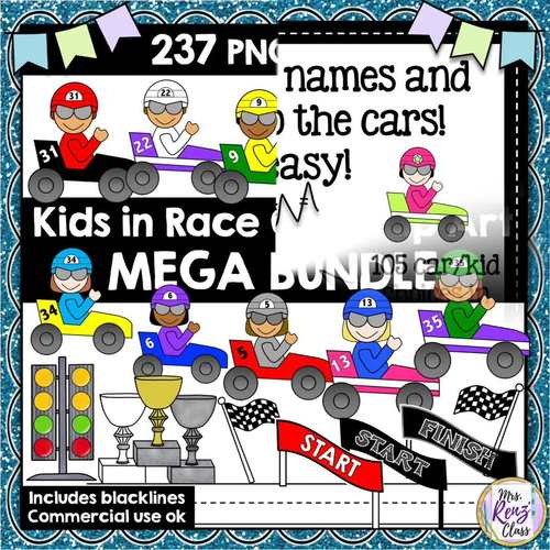 Race Car Clip Art   Add Student Names & Numbers to these Racecars   237 Images