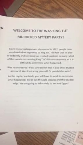 Was King  Tut Murdered Mystery Party
