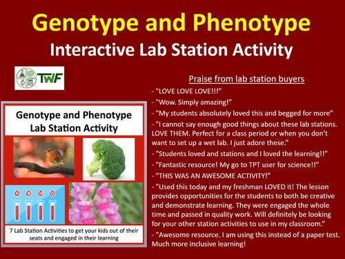 Genotype and Phenotype - 7 Lab Station Activities