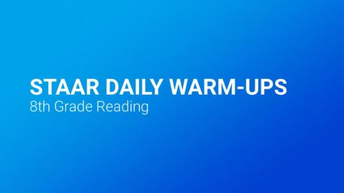 STAAR Reading Daily Warm Ups 8th Grade #1