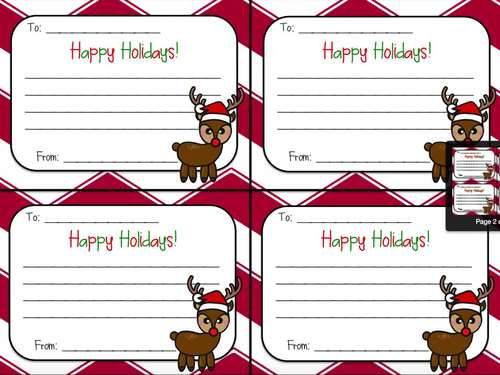 """Christmas Rudolph Gram """"Happy Holidays"""" Note for Classmates, Team, Coworkers"""