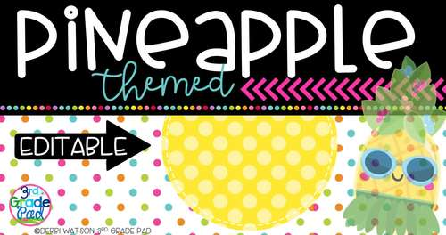 Pineapple Classroom Decor: Editable Labels, Desk Plates, Binder Covers,& Banners