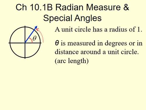 Radian Measure and Special Angles