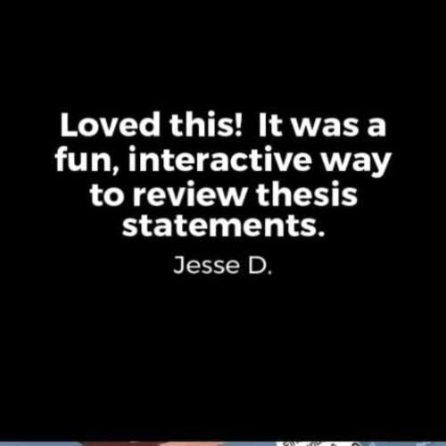 teaching thesis statements activities Purpose not only does the introduction contain your thesis statement, but it  provides the initial impression of your  denote a tendency to overindulge in  some pleasurable activity  community of students and teachers devoted to the  intellect.