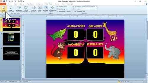 Basic 4 Team Scoreboard PPT - Safari Theme