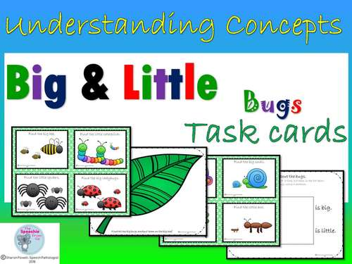 Understanding concepts Big and Little Task Cards for speech therapy
